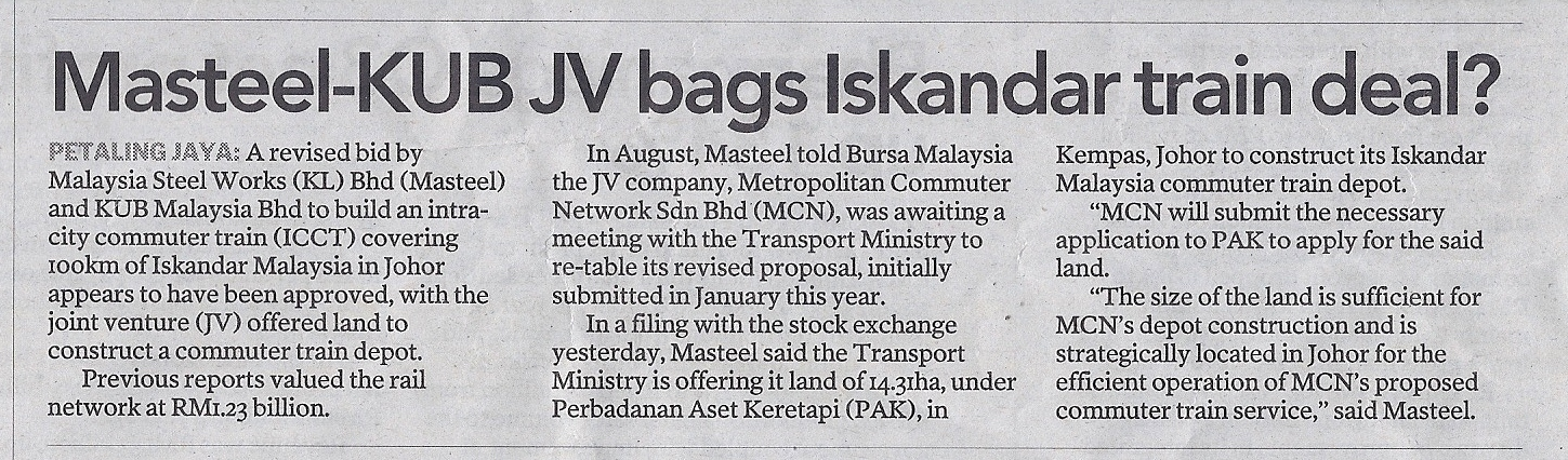Masteel-KUB-JV-bags-Iskandar-train-deal