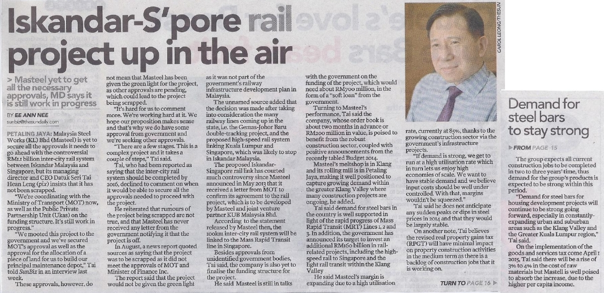Iskandar-Singapore rail project up in the air