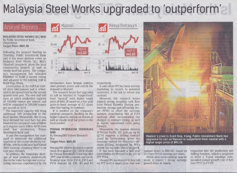 Malaysia Steel Works upgraded to outperform