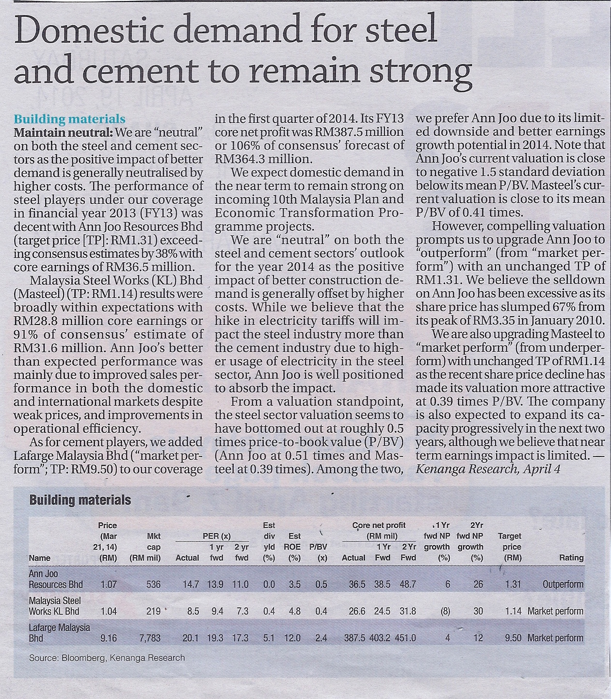 Domestic demand for steel and cement to remain strong
