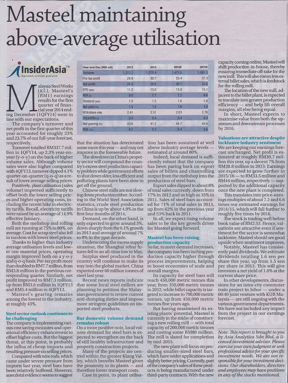 Masteel maintaining above-average utilisation