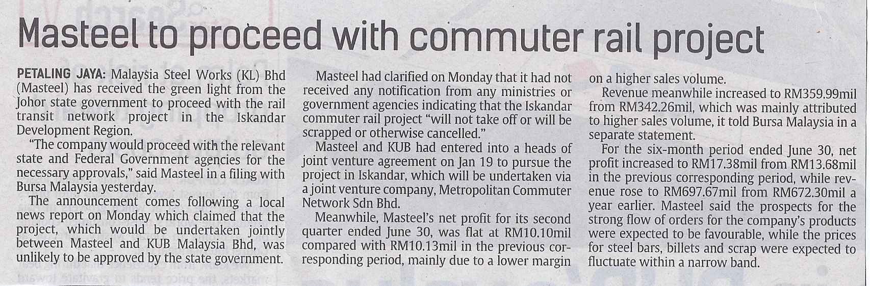 Masteel to proceed with commuter rail project