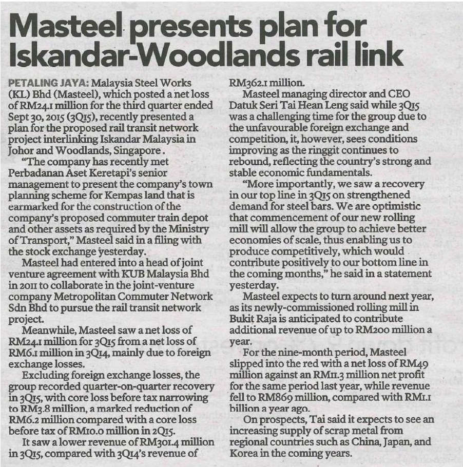 Masteel presents plan for Iskandar-Woodlands rail link