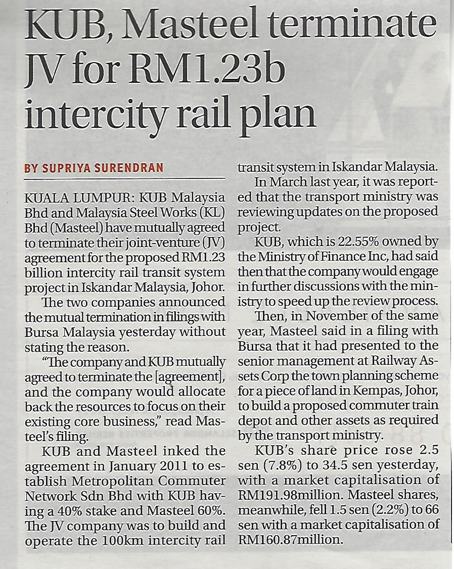 KUB Masteel terminate JV for RM1.23b intercity rail